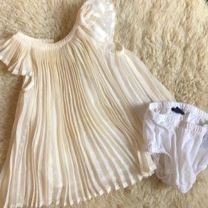 BabyGap 3-6 Month Cream Pleated Cotton Dress